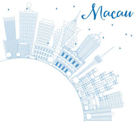 Skizzieren Sie die Macau-Skyline mit blauen Gebäuden und Textfreiraum. Vektor-Illustration. Geschäftsreise- und Tourismuskonzept mit moderner Architektur. Bild für Presentation Banner Placard und Website. Standard-Bild - 78948375