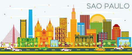 Sao Paulo Skyline with Color Buildings and Blue Sky. Vector Illustration. Business Travel and Tourism Concept with Modern Buildings. Image for Presentation Banner Placard and Web Site.