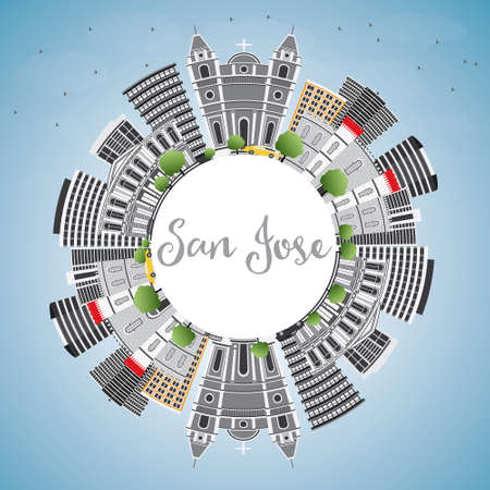 San Jose Skyline with Gray Buildings, Blue Sky and Copy Space. Vector Illustration. Business Travel and Tourism Concept with Modern Architecture. Image for Presentation Banner Placard and Web Site. 矢量图像