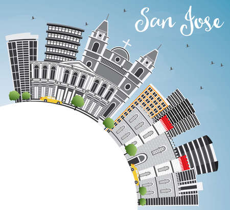 San Jose Skyline with Gray Buildings, Blue Sky and Copy Space. Vector Illustration. Business Travel and Tourism Concept with Modern Architecture. Image for Presentation Banner Placard and Web Site. Illustration