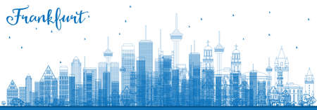 Outline Frankfurt Skyline with Blue Buildings. Vector Illustration. Business Travel and Tourism Concept with Modern Buildings. Image for Presentation Banner Placard and Web Site. Illustration