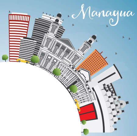 nicaragua: Managua Skyline with Gray Buildings, Blue Sky and Copy Space. Vector Illustration. Business Travel and Tourism Concept with Modern Architecture. Image for Presentation Banner Placard and Web Site.