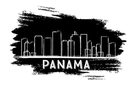 Panama Skyline Silhouette. Hand Drawn Sketch. Vector Illustration. Business Travel and Tourism Concept with Modern Architecture. Image for Presentation Banner Placard and Web Site.