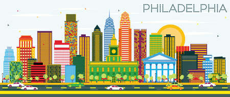 Philadelphia Skyline with Color Buildings and Blue Sky. Vector Illustration. Business Travel and Tourism Concept with Philadelphia City. Image for Presentation Banner Placard and Web Site.