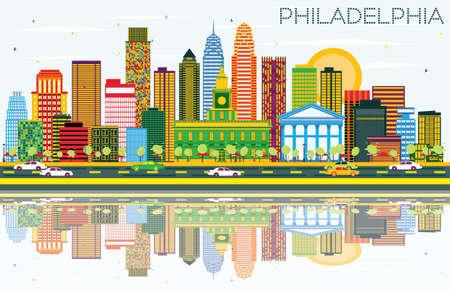 色の建物、青空の反射とフィラデルフィアのスカイライン。ベクトルの図。ビジネス旅行やフィラデルフィア市と観光概念です。プレゼンテーショ  イラスト・ベクター素材