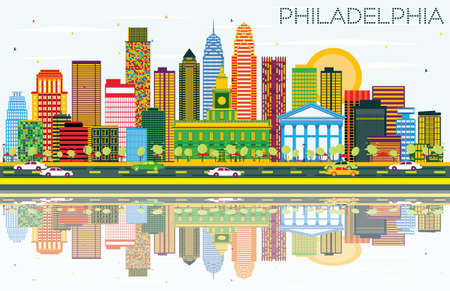 Philadelphia Skyline with Color Buildings, Blue Sky and Reflections. Vector Illustration. Business Travel and Tourism Concept with Philadelphia City. Image for Presentation Banner Placard and Web Site.