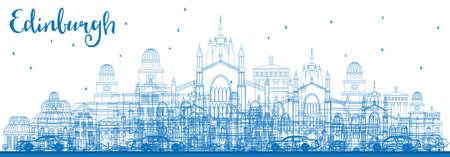 ブルーの建物概要エジンバラ スカイライン。ベクトルの図。ビジネス旅行と観光概念の歴史的建造物。プレゼンテーション バナー プラカードと Web