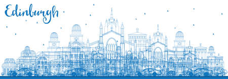 Outline Edinburgh Skyline with Blue Buildings. Vector Illustration. Business Travel and Tourism Concept with Historic Buildings. Image for Presentation Banner Placard and Web Site.