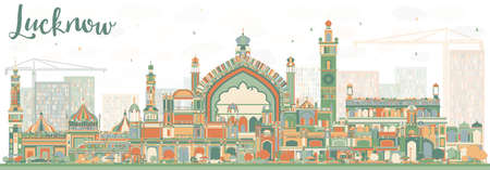 Abstract Lucknow Skyline with Color Buildings. Vector Illustration. Business Travel and Tourism Concept with Modern Architecture. Image for Presentation Banner Placard and Web Site.