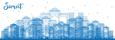 Outline Surat Skyline with Blue Buildings. Vector Illustration. Business Travel and Tourism Concept with Historic Buildings. Image for Presentation Banner Placard and Web Site.