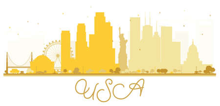 USA City skyline golden silhouette. Simple flat concept for tourism presentation, banner, placard or web site. Business travel concept. Cityscape with landmarks