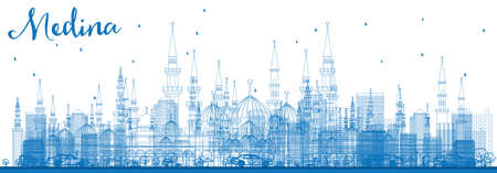 Outline Medina Skyline with Blue Buildings. Vector Illustration. Business Travel and Tourism Concept with Historic Buildings. Vetores