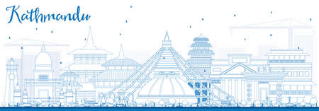 Outline Kathmandu Skyline with Blue Buildings. Vector Illustration. Business Travel and Tourism Concept with Historic Architecture. Image for Presentation Banner Placard and Web Site.