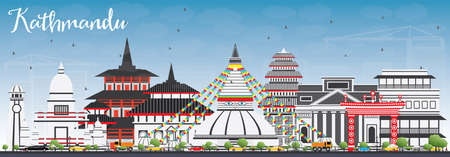 Kathmandu Skyline with Gray Buildings and Blue Sky. Vector Illustration. Business Travel and Tourism Concept with Historic Architecture. Image for Presentation Banner Placard and Web Site.