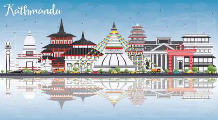 Kathmandu Skyline with Gray Buildings, Blue Sky and Reflections. Vector Illustration. Business Travel and Tourism Concept with Historic Architecture. Image for Presentation Banner Placard and Web Site.