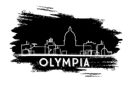 Olympia Skyline Silhouette. Hand Drawn Sketch. Vector Illustration. Business Travel and Tourism Concept with Modern Architecture. Image for Presentation Banner Placard and Web Site.