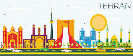 Tehran Skyline with Color Landmarks and Blue Sky. Vector Illustration. Business Travel and Tourism Concept with Historic Buildings. Image for Presentation Banner Placard and Web Site.