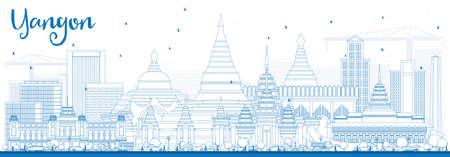 ブルーの建物概要ヤンゴン スカイライン。ベクトルの図。ビジネス旅行や歴史的建造物を観光概念です。プレゼンテーション バナー プラカードと W