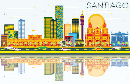 Santiago Chile Skyline with Color Buildings, Blue Sky and Reflections. Vector Illustration. Business Travel and Tourism Concept with Modern Architecture. Image for Presentation Banner Placard and Web Site. Иллюстрация
