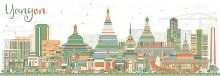 抽象的なヤンゴン スカイライン色の建物。ベクトルの図。ビジネス旅行や歴史的建造物を観光概念です。プレゼンテーション バナー プラカードと W  イラスト・ベクター素材