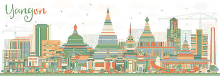 Abstract Yangon Skyline with Color Buildings. Vector Illustration. Business Travel and Tourism Concept with Historic Architecture. Image for Presentation Banner Placard and Web Site. Ilustração