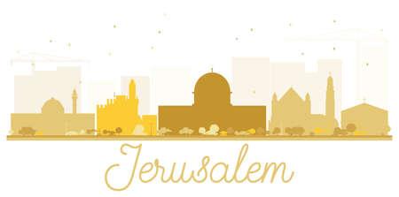 De horizon gouden silhouet van de Stad van Jeruzalem. Vector illustratie. Eenvoudig plat concept voor toeristische presentatie, banner, plakkaat of website. Zakelijke reizen concept. Stadsgezicht met bezienswaardigheden. Stock Illustratie