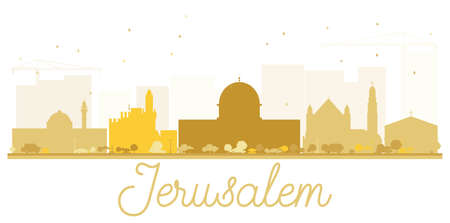 Jerusalem City skyline golden silhouette. Vector illustration. Simple flat concept for tourism presentation, banner, placard or web site. Business travel concept. Cityscape with landmarks. Иллюстрация