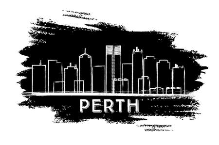 Perth Skyline Silhouette. Hand Drawn Sketch. Vector Illustration. Business Travel and Tourism Concept with Historic Architecture. Image for Presentation Banner Placard and Web Site. Vektorové ilustrace