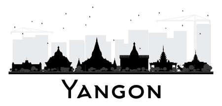 ヤンゴン市内のスカイラインの黒と白のシルエット。観光プレゼンテーション、バナー、プラカードまたは web サイトのためのシンプルなフラット