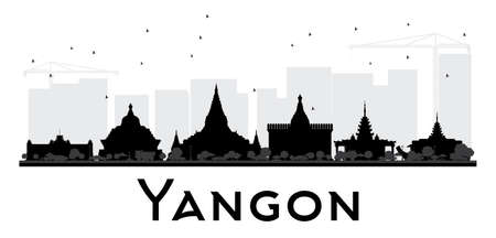 Yangon City skyline black and white silhouette. Simple flat concept for tourism presentation, banner, placard or web site. Cityscape with landmarks. Vector illustration.