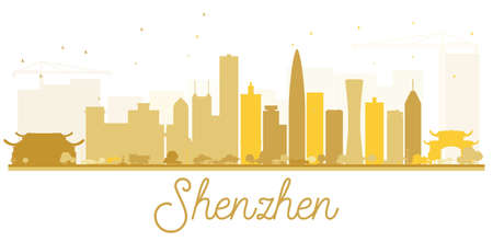 深圳市黄金のスカイライン シルエット。ベクトルの図。観光プレゼンテーション、バナー、プラカードまたは web サイトのためのシンプルなフラッ