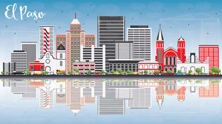 water reflection: El Paso Skyline with Gray Buildings, Blue Sky and Reflections. Vector Illustration. Business Travel and Tourism Concept with Modern Architecture. Image for Presentation Banner Placard and Web Site. Illustration