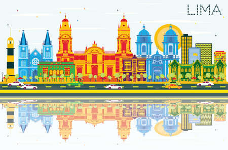 Lima Skyline with Color Buildings, Blue Sky and Reflections. Vector Illustration. Business Travel and Tourism Concept with Lima City. Image for Presentation Banner Placard and Web Site.