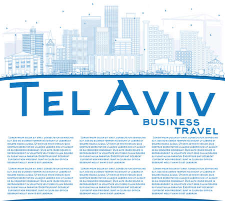 Outline Tel Aviv Skyline with Blue Buildings and Copy Space. Vector Illustration. Business Travel and Tourism Concept with Modern Architecture. Image for Presentation Banner Placard and Web Site. Vektoros illusztráció