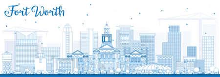 Esquema Fort Worth Skyline con edificios azules. Ilustración vectorial Viajes de negocios y concepto de turismo con arquitectura moderna. Imagen para la Presentación Banner Placard y sitio web. Foto de archivo - 79750660