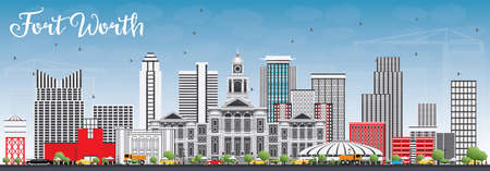 Fort Worth Skyline with Gray Buildings and Blue Sky. Vector Illustration. Business Travel and Tourism Concept with Modern Architecture. Image for Presentation Banner Placard and Web Site. 矢量图片