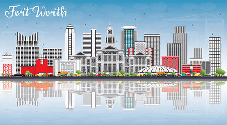Fort Worth Skyline with Gray Buildings, Blue Sky and Reflections. Vector Illustration. Business Travel and Tourism Concept with Modern Architecture. Image for Presentation Banner Placard and Web Site.