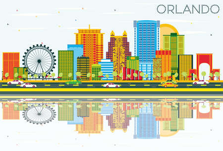 Orlando Skyline with Color Buildings, Blue Sky and Reflections. Vector Illustration. Business Travel and Tourism Concept with Modern Architecture. Image for Presentation Banner Placard and Web Site.