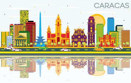 Caracas-Skyline mit Farbgebäuden, blauem Himmel und Reflexionen. Vektor-Illustration. Geschäftsreisen und Tourismus-Konzept mit historischen Gebäuden. Bild für Präsentation Banner Plakat und Website. Standard-Bild - 80015701