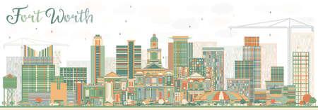 Resumen Fort Worth Skyline con edificios de color. Ilustración vectorial Viajes de negocios y concepto de turismo con arquitectura moderna. Imagen para la Presentación Banner Placard y sitio web. Foto de archivo - 79939276