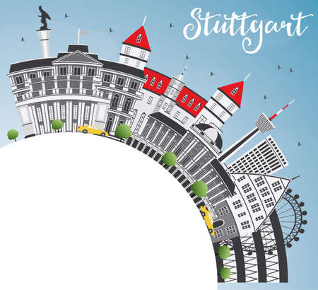 Stuttgart Skyline with Gray Buildings, Blue Sky and Copy Space. Vector Illustration. Business Travel and Tourism Concept with Historic Architecture. Image for Presentation Banner Placard and Web Site. Illustration