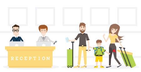 Family on Reception in Hotel Get Key from Room. Vector Illustration.