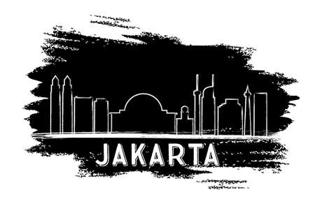 Jakarta Skyline Silhouette. Hand Drawn Sketch. Vector Illustration. Business Travel and Tourism Concept with Modern Architecture. Image for Presentation Banner Placard and Web Site.