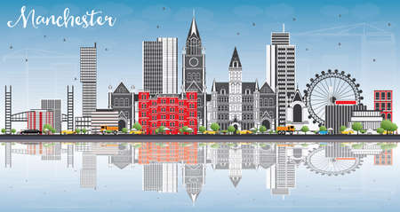 Manchester Skyline with Gray Buildings, Blue Sky and Reflections. Vector Illustration. Business Travel and Tourism Concept with Modern Architecture. Image for Presentation Banner Placard and Web Site.