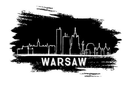 Warsaw Skyline Silhouette. Hand Drawn Sketch. Vector Illustration. Business Travel and Tourism Concept with Modern Architecture. Image for Presentation Banner Placard and Web Site.
