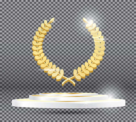 Gold Laurel Wreath on Podium on Transparent Background. Vector Illustration.