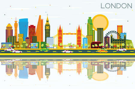 London Skyline with Color Buildings, Blue Sky and Reflections. Vector Illustration. Stock Vector - 80260641