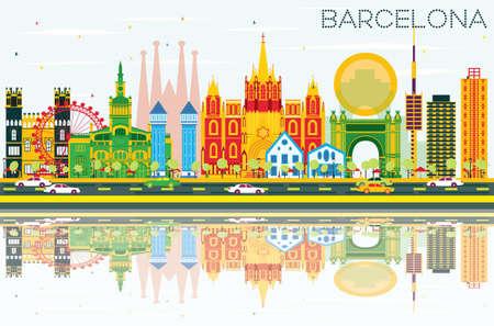 Barcelona-Skyline mit Farbgebäuden, blauem Himmel und Reflexionen. Vektor-Illustration. Standard-Bild - 80338920