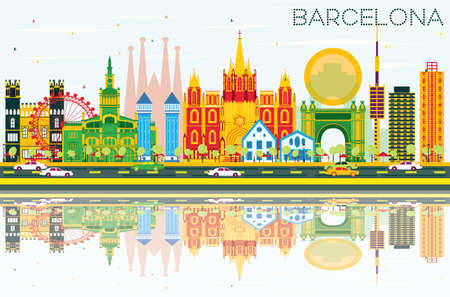Barcelona Skyline with Color Buildings, Blue Sky and Reflections. Vector Illustration.