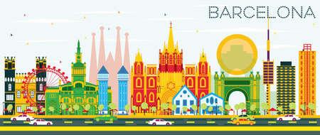 색 건물와 푸른 하늘 바르셀로나 스카이 라인. 벡터 일러스트 레이 션. 비즈니스 여행 및 역사적인 건물 관광 개념입니다. 프레젠테이션 배너 플래 카 일러스트